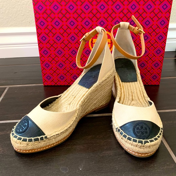 Tory Burch Color Block 85MM Wedge Espadrilles Size 5.5